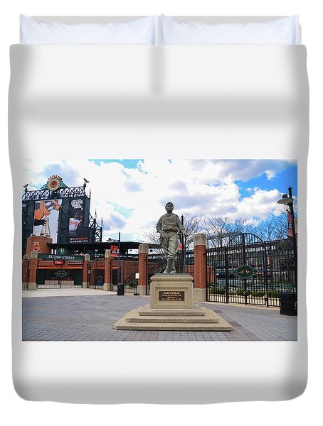 Duvet Cover featuring the photograph Babes Dream - Camden Yards Baltimore by Bill Cannon