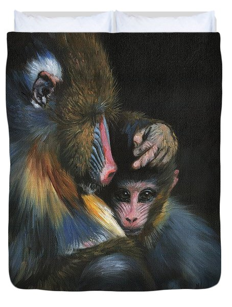 Duvet Cover featuring the painting Baboon Mother And Baby by David Stribbling