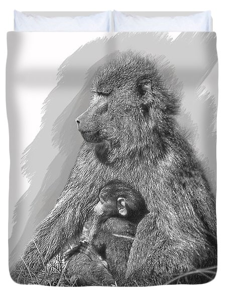 Baboon Mother And Young Duvet Cover