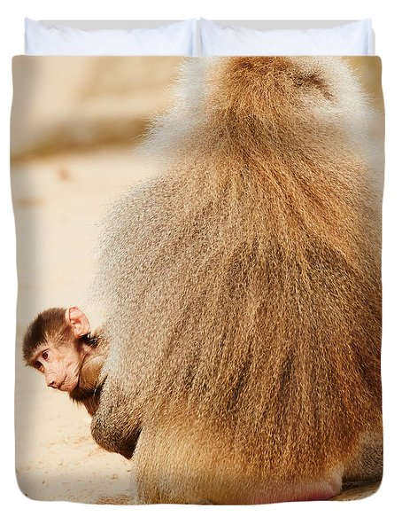 Baboon With A Baby  Duvet Cover