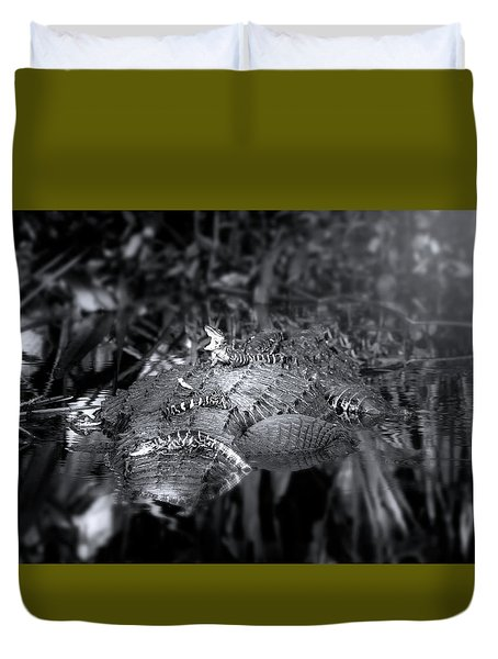 Baby Alligators On Board Duvet Cover by Mark Andrew Thomas