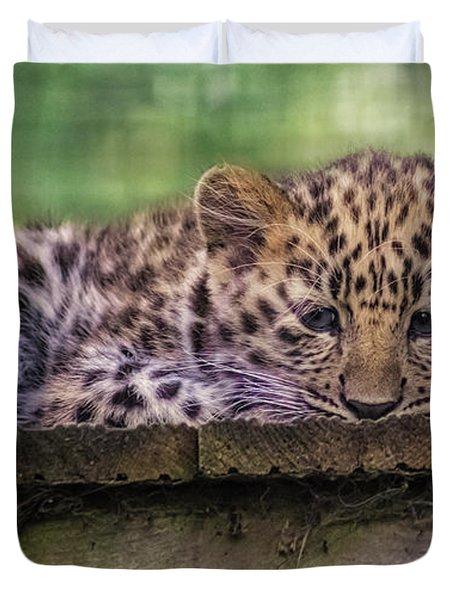 Baby Amur Leopard Duvet Cover