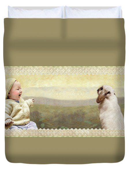 Baby And Bunny Talk Duvet Cover