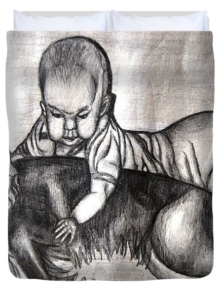 Baby And Dog Duvet Cover
