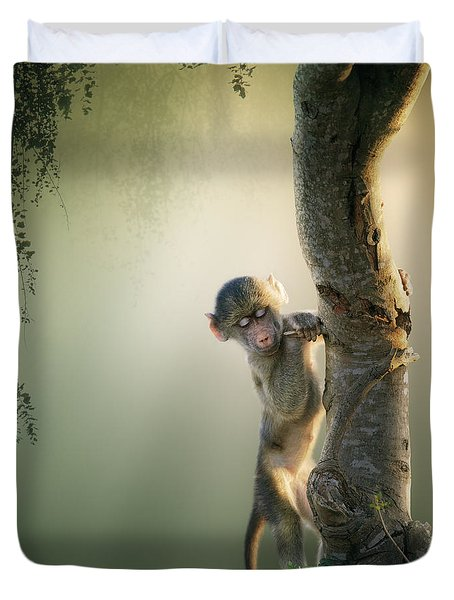 Baby Baboon In Tree Duvet Cover