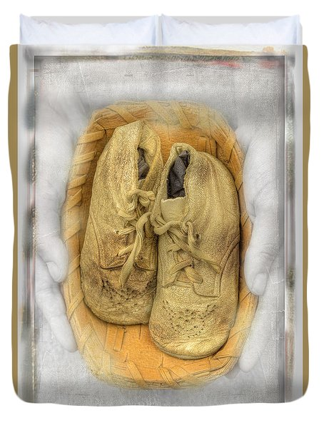 Duvet Cover featuring the photograph Baby Basket Shoes by Craig J Satterlee