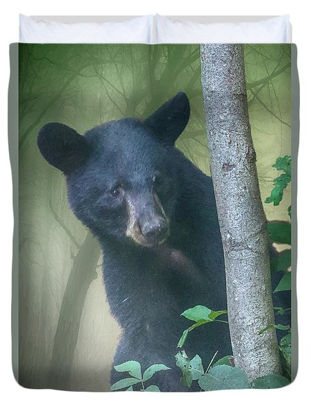 Baby Bear Takes A Peek Duvet Cover by John Haldane