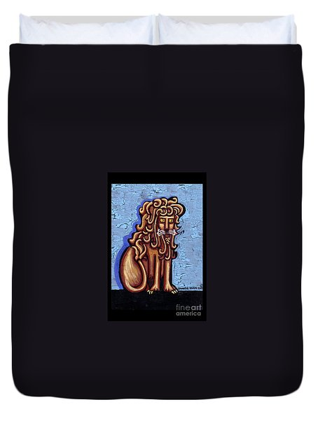 Baby Blue Byzantine Lion Duvet Cover by Genevieve Esson
