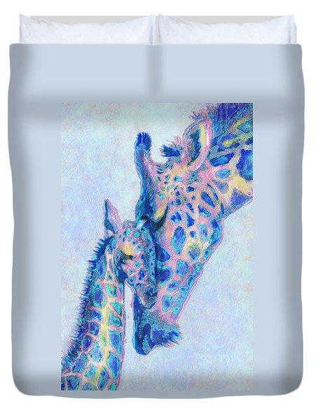 Baby Blue  Giraffes Duvet Cover