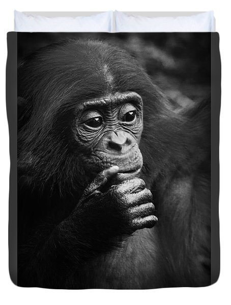 Duvet Cover featuring the photograph Baby Bonobo by Helga Koehrer-Wagner