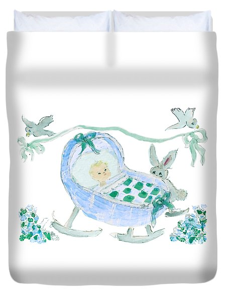 Duvet Cover featuring the painting Baby Boy With Bunny And Birds by Claire Bull