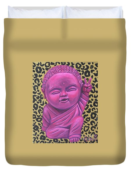 Duvet Cover featuring the painting Baby Buddha 2 by Ashley Price