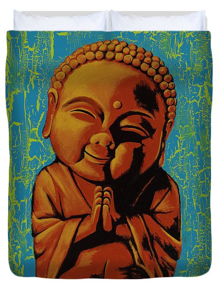 Duvet Cover featuring the painting Baby Buddha by Ashley Price