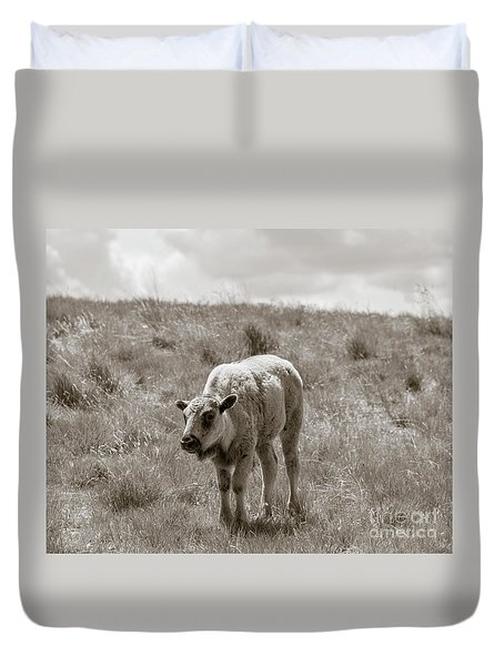 Duvet Cover featuring the photograph Baby Buffalo In Field With Sky by Rebecca Margraf