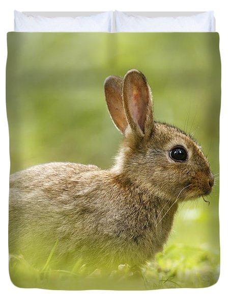 Baby Bunny Having Lunch Duvet Cover