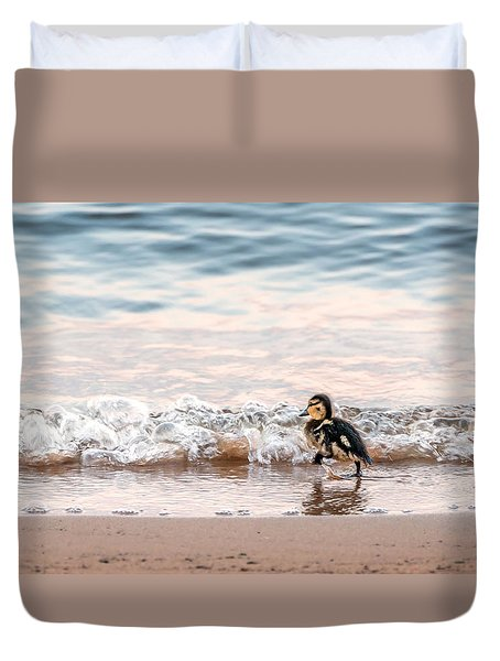 Baby Duck Running On A Beach Into The Waves Duvet Cover