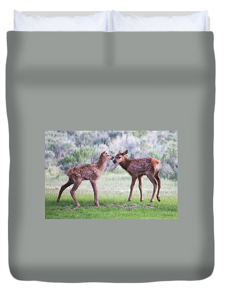 Duvet Cover featuring the photograph Baby Elk by Wesley Aston