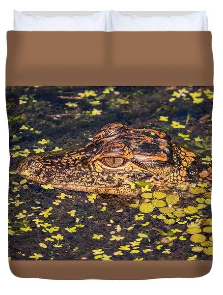 Baby Gator And Duckweed Duvet Cover