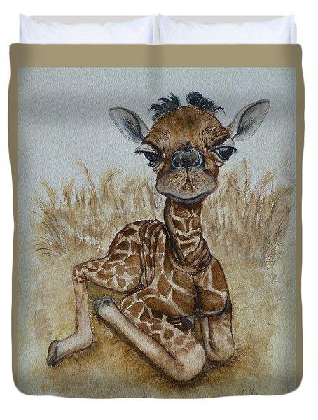 New Born Baby Giraffe Duvet Cover