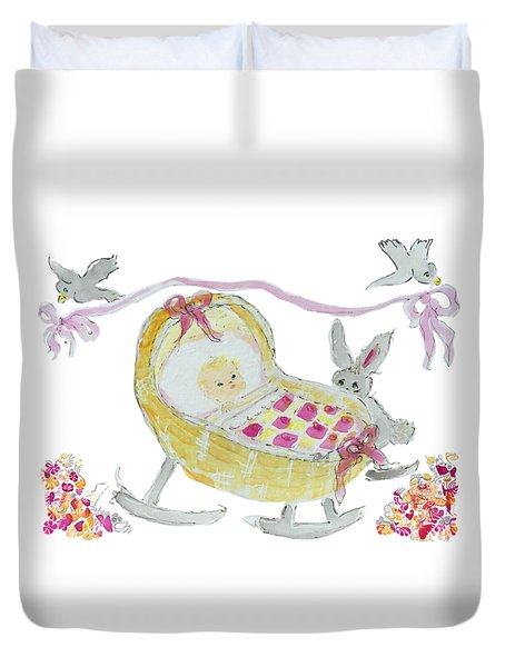 Duvet Cover featuring the painting Baby Girl With Bunny And Birds by Claire Bull