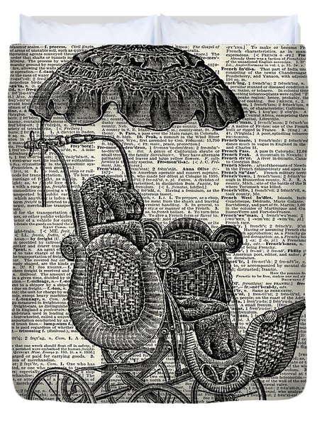 Baby Pram Over A Vintage Dictionary Page Duvet Cover