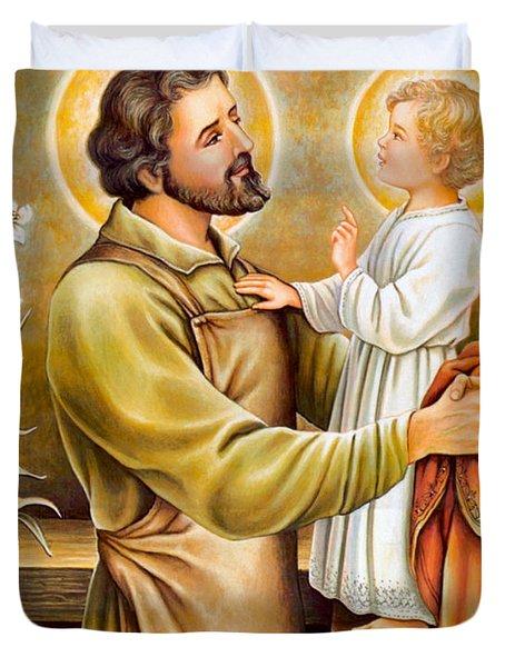 Baby Jesus Talking To Joseph Duvet Cover