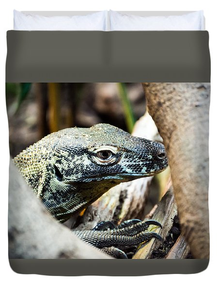 Duvet Cover featuring the photograph Baby Komodo Dragon by Scott Lyons