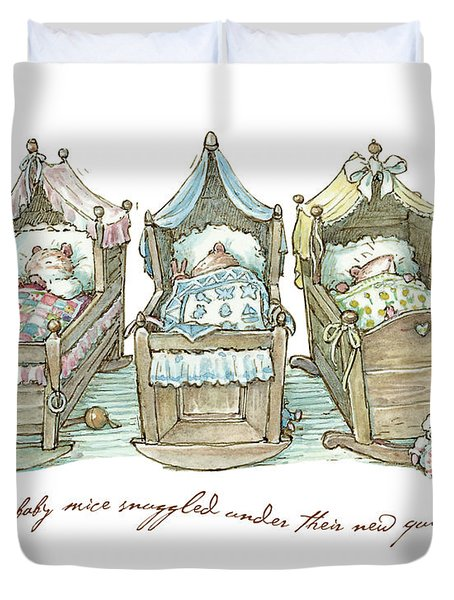 The Brambly Hedge Baby Mice Snuggle In Their Cots Duvet Cover