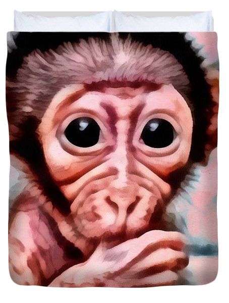 Baby Monkey Realistic Duvet Cover