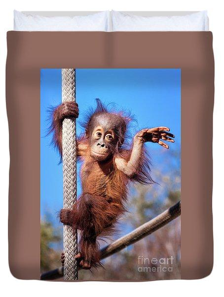 Baby Orangutan Climbing Duvet Cover