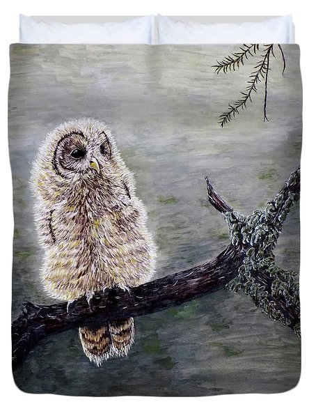 Duvet Cover featuring the painting Baby Owl by Judy Kirouac