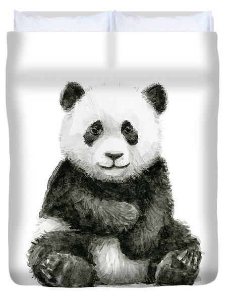 Baby Panda Watercolor Duvet Cover