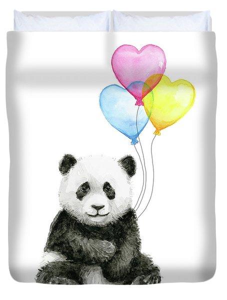 Baby Panda With Heart-shaped Balloons Duvet Cover by Olga Shvartsur
