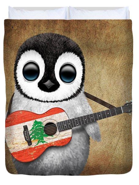 Baby Penguin Playing Lebanese Flag Guitar Duvet Cover