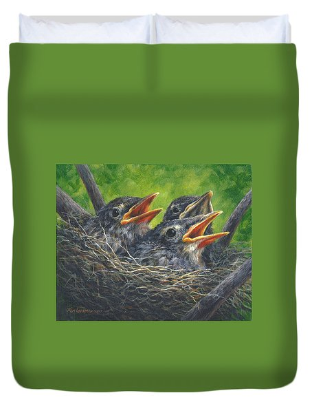 Baby Robins Duvet Cover by Kim Lockman