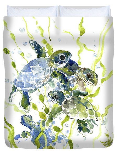 Baby Sea Turtles In The Sea Duvet Cover