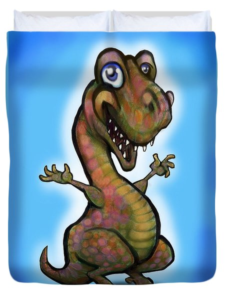 Duvet Cover featuring the painting Baby T-rex Blue by Kevin Middleton