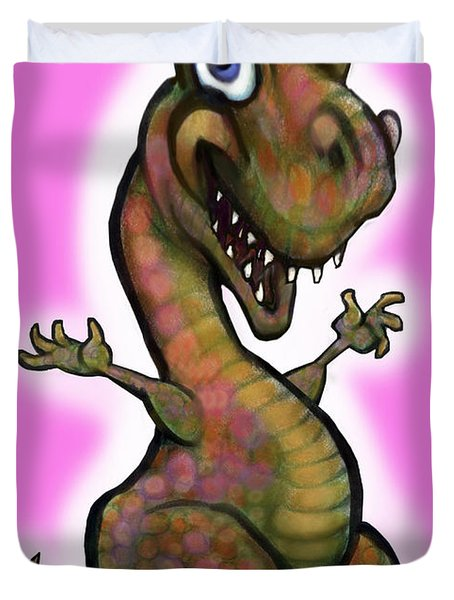 Duvet Cover featuring the painting Baby T-rex Pink by Kevin Middleton