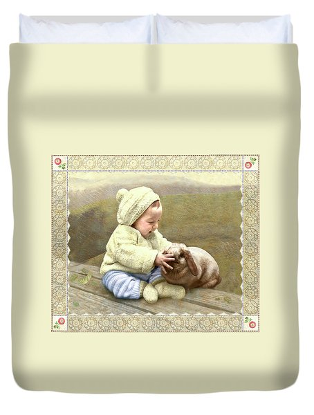 Baby Touches Bunny's Nose Duvet Cover