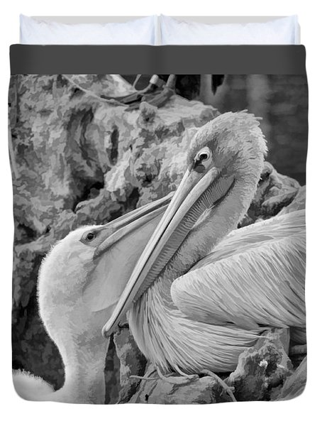 Baby White Pelican Talks To Mother White Pelican Duvet Cover