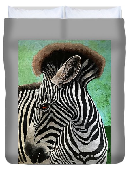 Duvet Cover featuring the painting Baby Zebra by Linda Apple