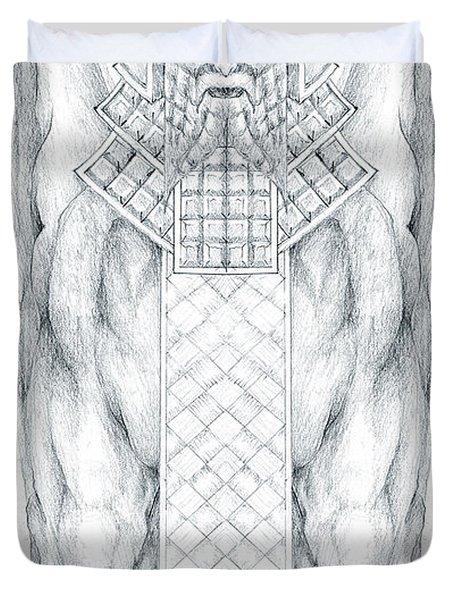 Babylonian Sphinx Lamassu Duvet Cover