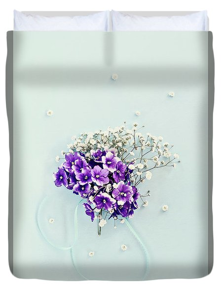 Baby's Breath And Violets Bouquet Duvet Cover