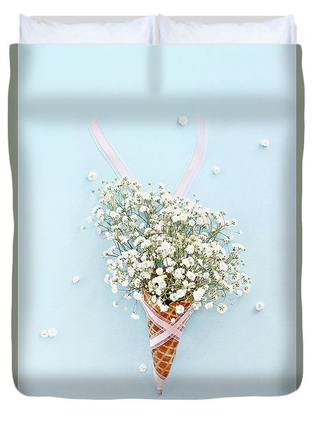 Baby's Breath Ice Cream Cone Duvet Cover