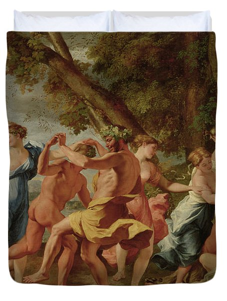 Bacchanal Before A Herm Duvet Cover by Nicolas Poussin