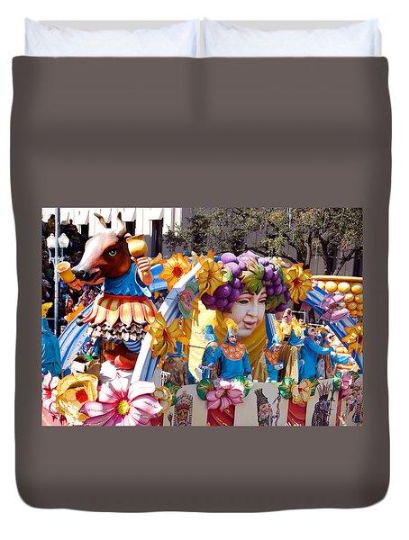 Bacchus Mardis Gras Float Duvet Cover