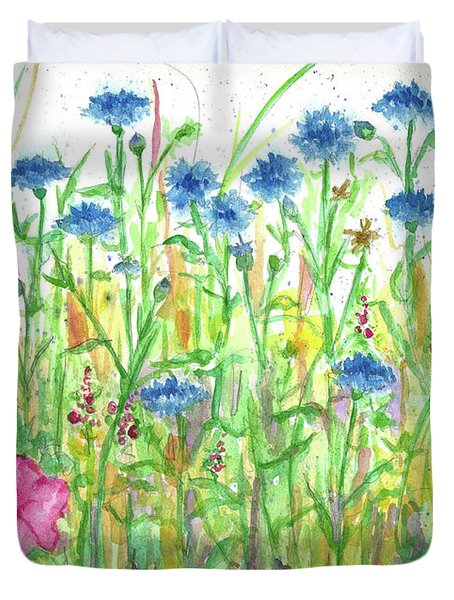 Duvet Cover featuring the painting Bachelor Button Meadow by Cathie Richardson