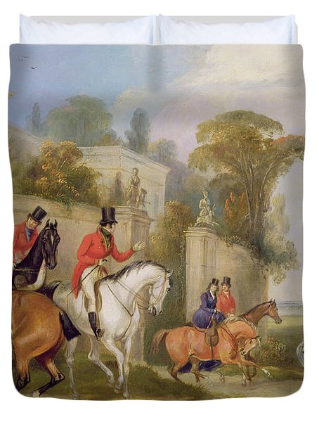 Bachelor's Hall - The Meet Duvet Cover by Francis Calcraft Turner