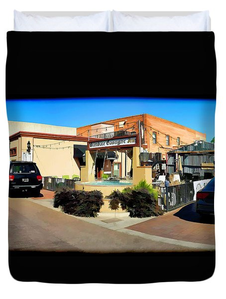 Back Alley View Of The Gaslight Inn Patio Duvet Cover by Charles Ables