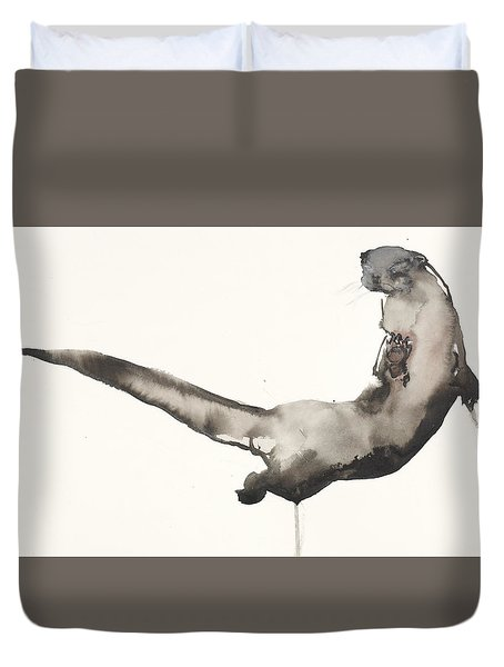 Back Awash   Otter Duvet Cover by Mark Adlington